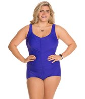 Maxine Plus Size Tricot Shirred Front Girl Leg One Piece Swimsuit