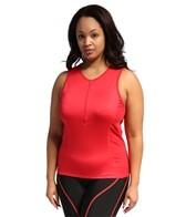Shebeest Women's Plus Size Zip Tri Top