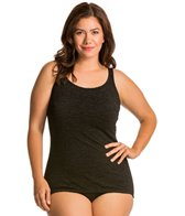 Penbrooke Mastectomy Krinkle Plus Size Scoop Neck Sheath Chlorine Resistant  One Piece Swimsuit