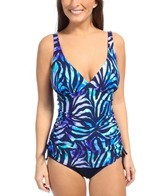 Gabar Island Zebra Shirred Swim Dress