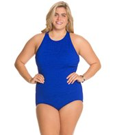 Penbrooke Krinkle Plus Size High Neck Mio Chlorine Resistant One Piece Swimsuit