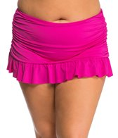Kenneth Cole Plus Size Solid Ruffle Rouched Skirted Bottom