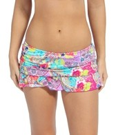 Kenneth Cole Modern Gypsy Rouched Swim Skirted Pant Bikini Bottom