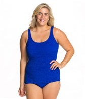 Penbrooke Krinkle Plus Size D Cup Scoop Neck Sheath One Piece