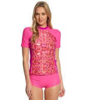 Reebok Fitness Shelby Pink Coverup Rash Guard Top