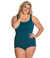 Penbrooke Krinkle Plus Size Scoop Neck Sheath One Piece Swimsuit