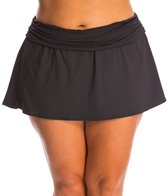 La Blanca Plus Size Core Solids Shirred Band Skirted Hipster