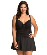 La Blanca Plus Size Core Solid Sweetheart Skirted Mio One Piece Swimsuit