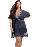 Anne Cole Plus Size Ditsy Floral Tie Front V-Neck Tunnel Waist Tunic