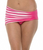 Anne Cole Stripe & Tuck Asymetric Side Shirred Swim Swim Skirt