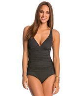 Jantzen Texture Dot Stripe One Piece Swimsuit