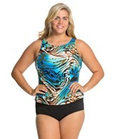 Topanga Liquid Gold Plus Size Tank Strap Blouson Mastectomy Tankini Top