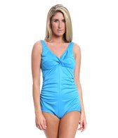 Tuffy Shirred Front Twist Bra One Piece Swimsuit