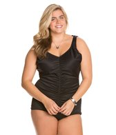 Tuffy Plus Size Shirred Front Girl Leg One Piece Swimsuit