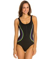 Fit4U Color Blocks Zipper Tank One Piece Swimsuit