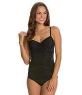Fit4U Luxury Solids Shirred Front Underwire One Piece Swimsuit