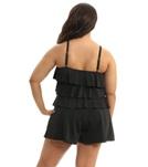 Fit4U Swimwear Plus Size Solid Tiered Swim Romper