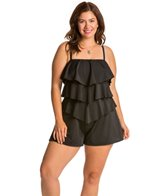 Fit4U Solid Plus Size Three Tiered Swim Romper