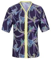 Platypus Girls' Tie Dye Birds Piped Zip Front S/S Rashguard (8-14)