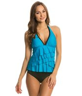 Eco Swim Solid Layered Ruffle Halterkini Top