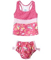 iPlay Girls' Pink Paisley Mix 'n Match Swim Diaper Tankini Set (6mos-3yrs)