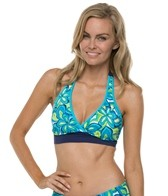 South Point Seaside Floral On Shore Halter Bikini Top