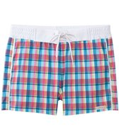 Sauvage Men's Como Italia Plaids Retro Square Cut Swim Trunk