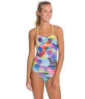 Speedo Poly Gone Mesh Back One Piece Swimsuit