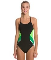 Nike Swim Poly Team Splice Cut Out Tank One Piece Swimsuit