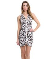 DKNY Urban Animal Draped Zipper Front Cover Up