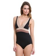 DKNY Color Block V-Neck One Piece Swimsuit