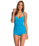 DKNY Brigitte Solid Shirred Swim Dress