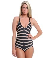 DKNY Empire Stripes V-Neck One Piece Swimsuit