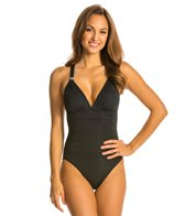 Carmen Marc Valvo Exotic Illusion Plunge One Piece Swimsuit