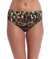 Carmen Marc Valvo Zanzibar Leopard Shirred Bikini Bottom