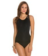 Carmen Marc Valvo Illusion Scoop Back Over the Shoulder One Piece Swimsuit