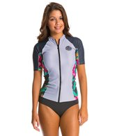 Rip Curl Women's Beach Party Short Sleeve Front Zip Rashguard