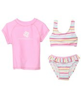 Snapper Rock Girls' Candy Stripe 3 Piece Rashguard Set (2-4yrs)
