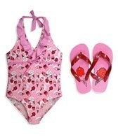 Jump N Splash Girls Ice Cream One Piece w/FREE Flip Flops