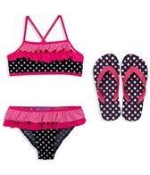 Jump N Splash Girls Polka Dot Flutter Top Set w/FREE Flip Flops