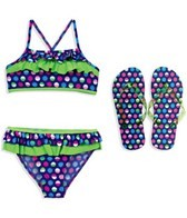 Jump N Splash Girls Mutli Colored Polka Dot Flutter Top Set w/FREE Flip Flops