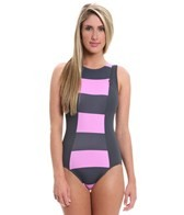 DKNY Lorimer Stripe High Neck One Piece Swimsuit