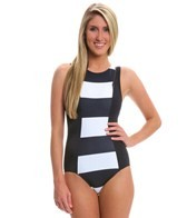 DKNY Lorimer Stripe High Neck One Piece
