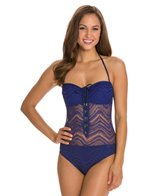 BLEU Rod Beattie Peep Show Crochet Bandeau One Piece Swimsuit
