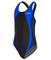 Sporti Piped Splice Wide Strap Swimsuit Youth