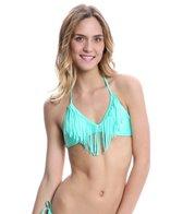 Eidon Solid Naomi Fringe Halter Bikini Top