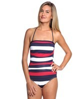 Tommy Bahama Mare Rugby Stripe Shirred Bandeau One Piece Swimsuit