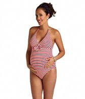 Pez D'or Maternity Capri Striped Halter One Piece