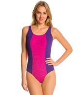 Sporti Textured Scoop Back Colorblock Slimsuit