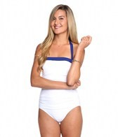 Tommy Bahama Deck Piping Shirred Halter One Piece Swimsuit